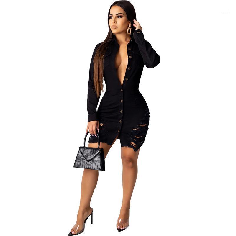 Hülse Revers Nacken Weibliche Kleidung Fsahion Stil Casual Apparel Womens Herbst Desinger Jeans Bodycon Kleider Sexy Stil lang