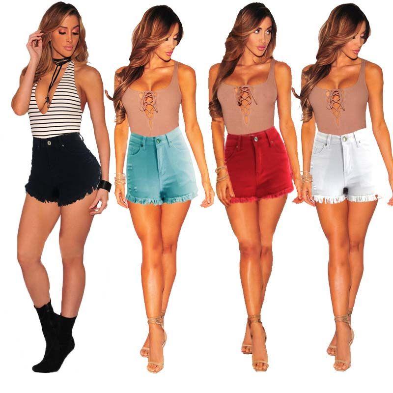 Frauen-kurze Jeans Zerrissene Distressed sexy mittlerer Taillen-Denim-kurze Hosen-Tassel dünne dünne Hosen-hochwertiges freies Verschiffen
