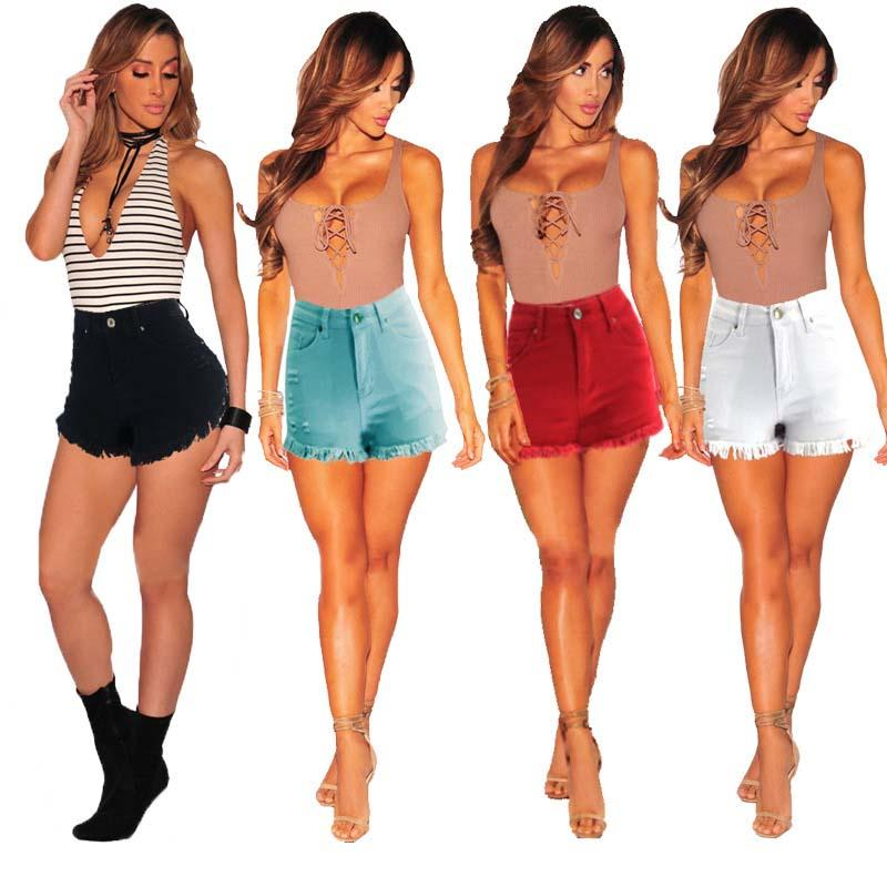Brevi jeans delle donne Ripped Distressed sexy della vita media del denim dei pantaloni di scarsità della nappa scarni sottili pantaloni trasporto libero superiore