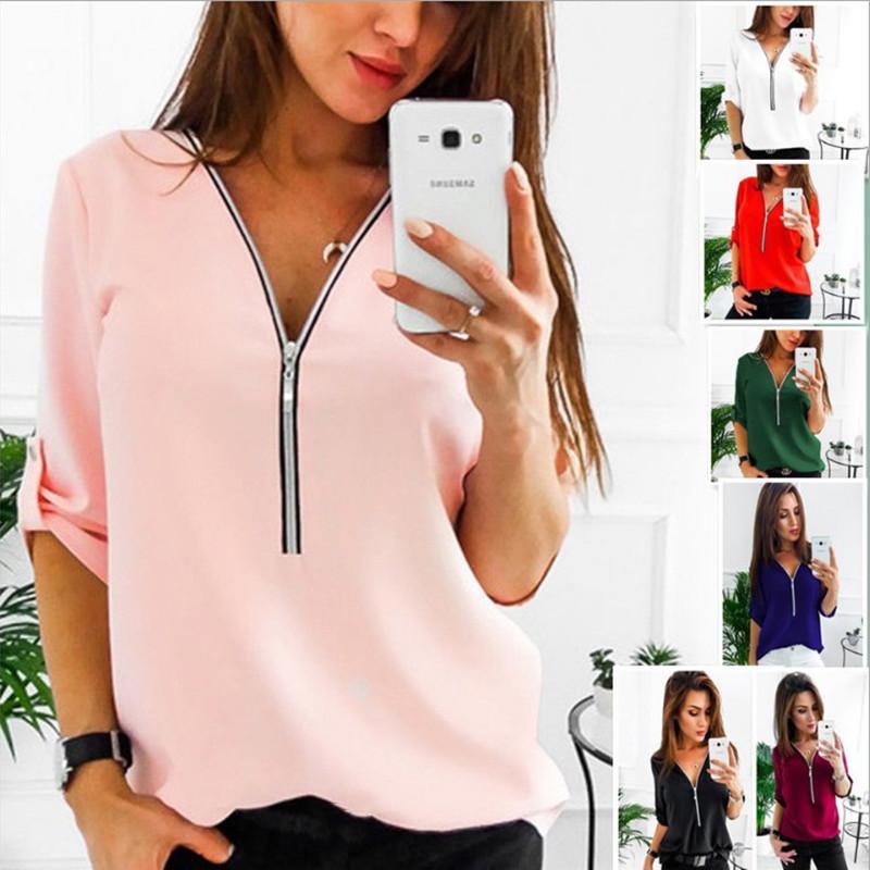 T-shirt manica lunga donna 2016 profondo scollo a V Top donna T-shirt in cotone lavorato a maglia T-shirt da donna T-shirt Plus