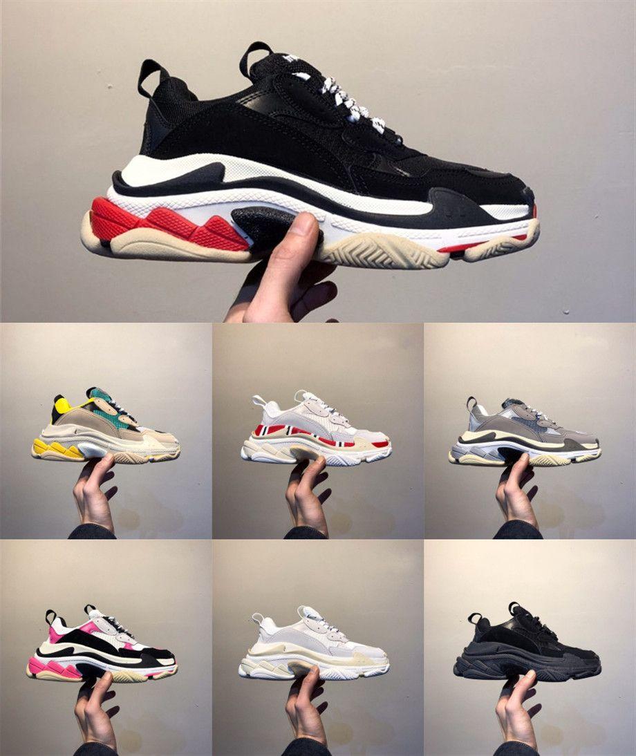 Balenciaga Shoes 2020 منصة ايس 17FW الرجال والنساء الثلاثي الصورة رياضة الأحمر الأزرق الثلاثي الأسود منخفضة قديم أبي خمر أحذية عادية الثلاثي-S حذاء رياضة