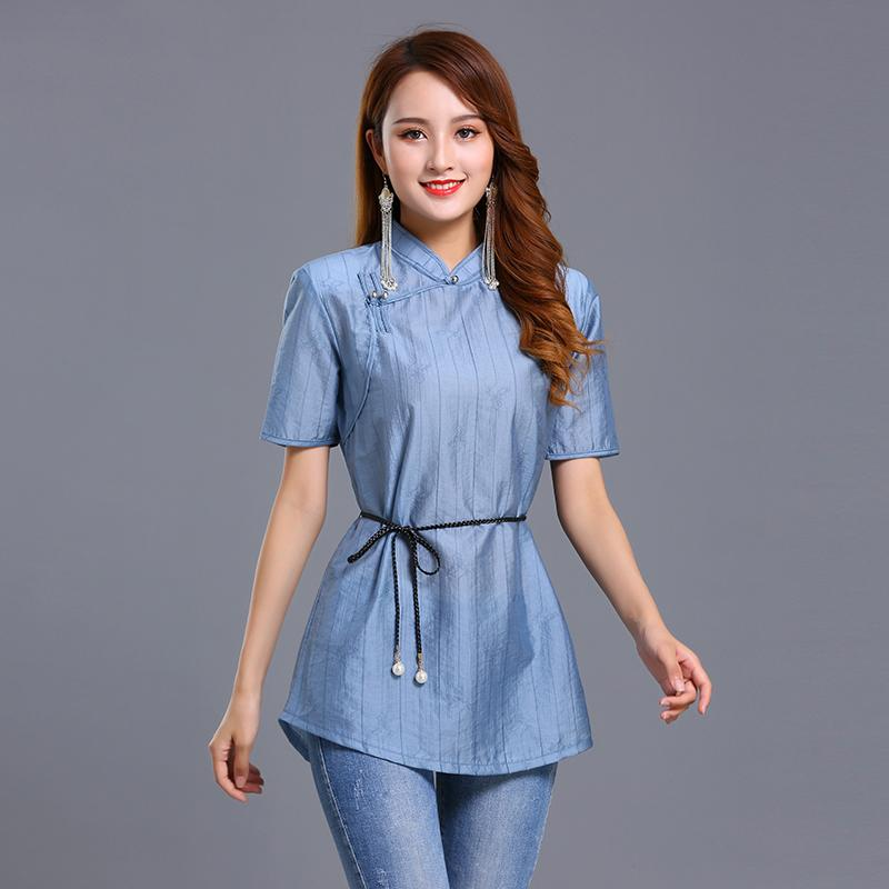 Summer Ethnic Elegant Clothing Chinese Style Traditional Tang Suit Top Retro Women Silk Linen Breathable shirt national stage wear