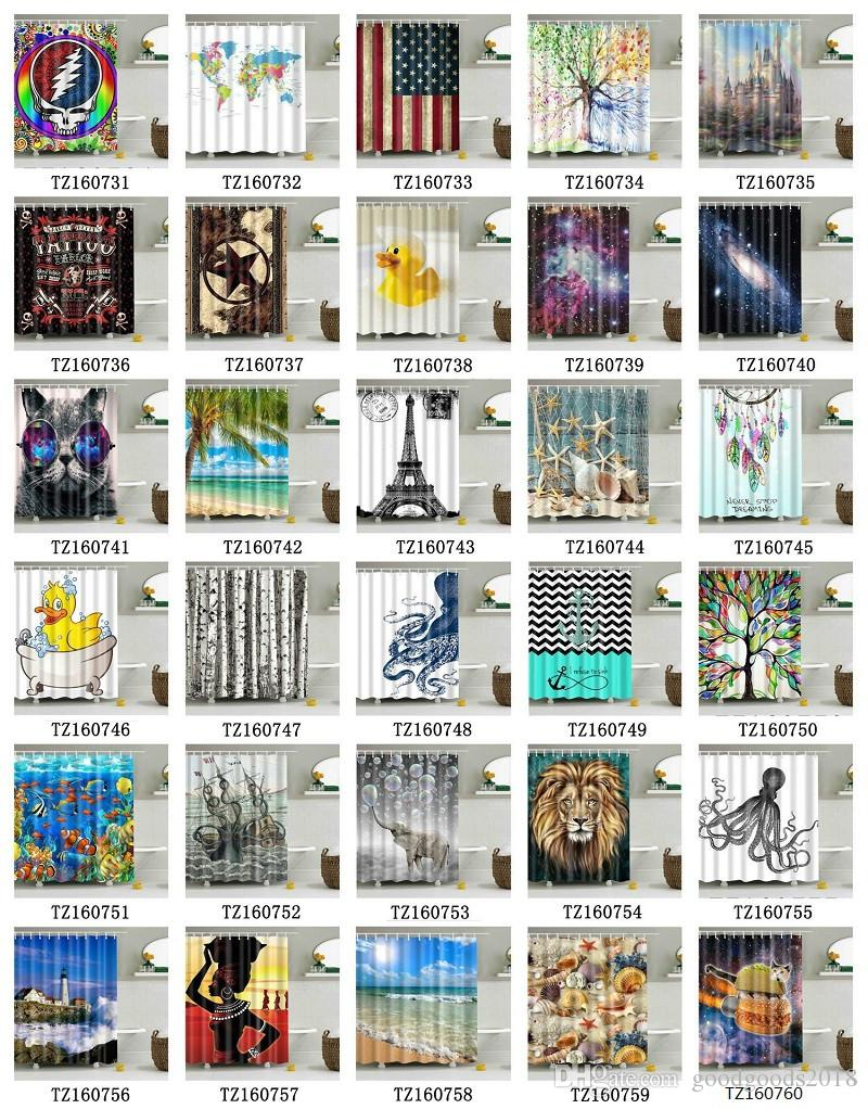Shower curtain 72 x 72 inch waterproof 3D shower curtains for bathroom premium polyester fabric decorative bath curtain design many styles S