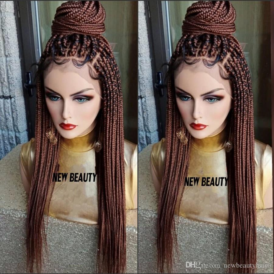 30 Brown Box Braids Wig With Baby Hair Full Braid Wig Lace Front For Women Africa Women Style Braiding Synthetic Hair Wig Long Curly Wigs Asian Wigs From Dinglong111 61 75 Dhgate Com
