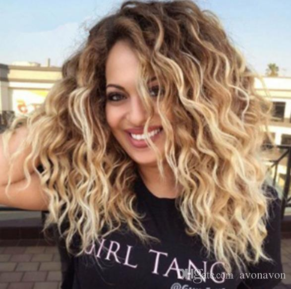 fashion Ombre Wigs Short Bob Curly Wavy Lace Front Wigs Heat Resistant Synthetic Lace Front Wigs for Black Women FZP150
