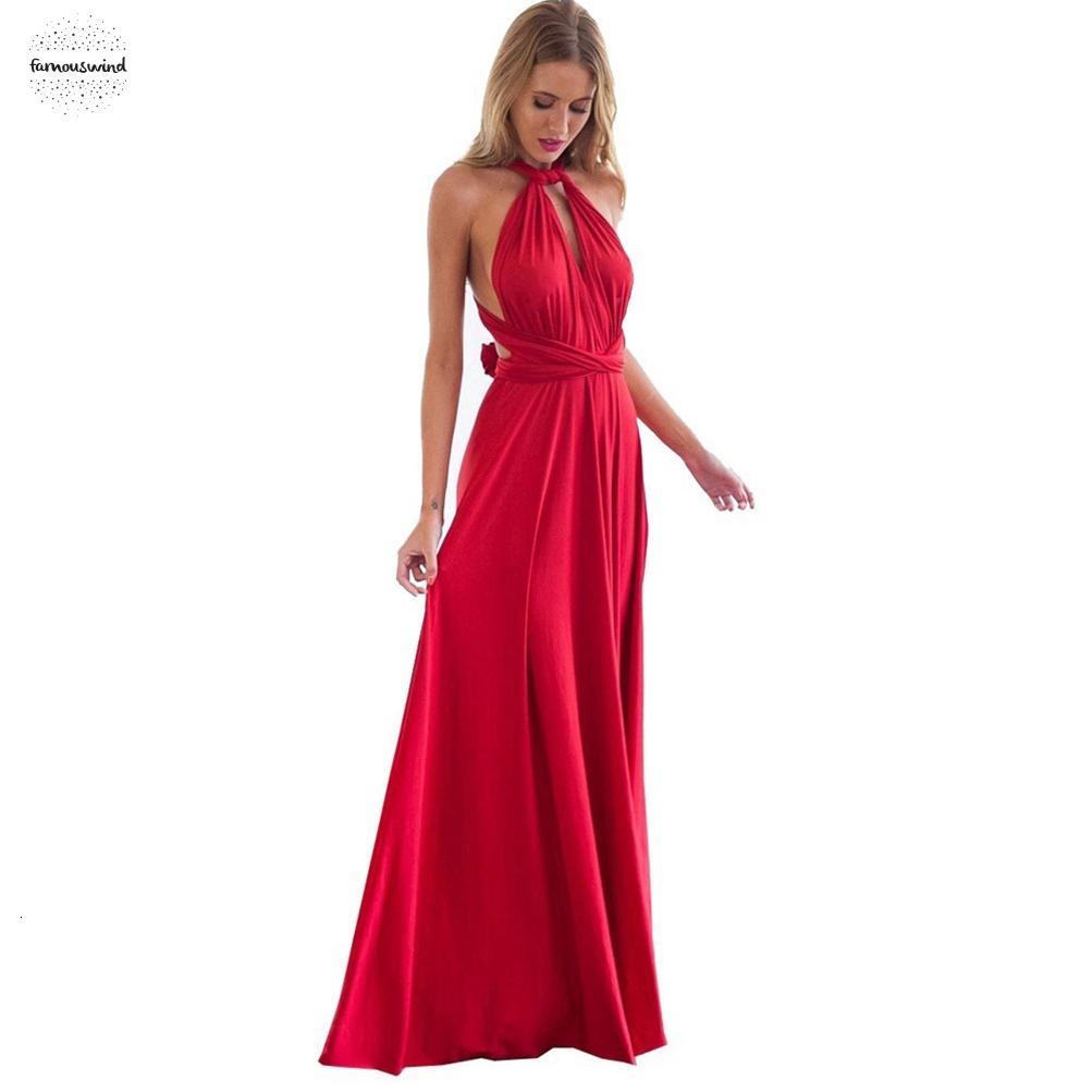 Stilisti Wrap donne sexy del vestito di Boho maxi Club Red partito della fasciatura Vestito lungo Infinity Longue Femme