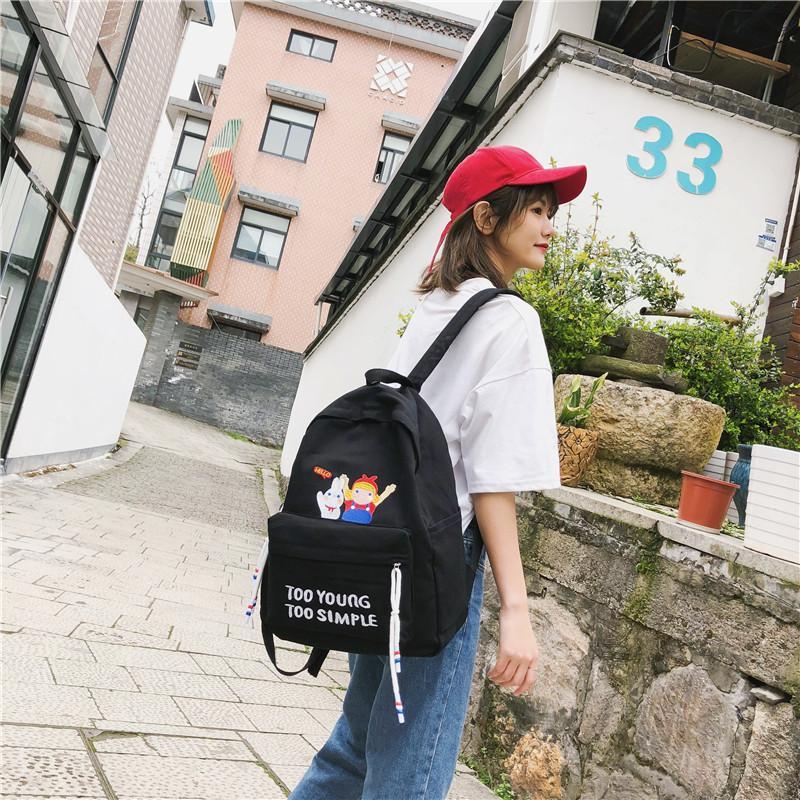 Charismatic2019 Antiguo Coreano Original Ulzzang High School secundaria Estudiante de ambos hombros Paquete Mujer Marea Personalidad de todos los partidos Calle-tiempo