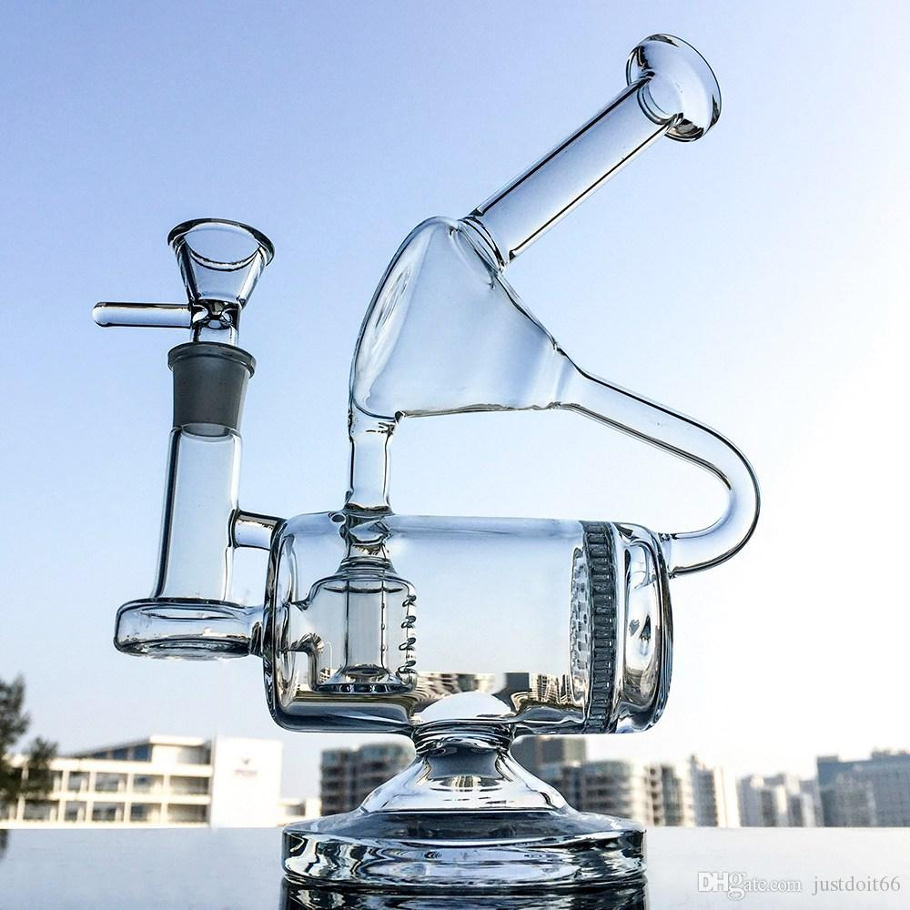 Usine de gros verre Bangs uniques Perc Barrel Dab Rigs 14mm Joint peigne Perc Les conduites d'eau recycleur huile Rig WP1431