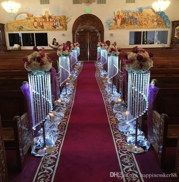 mode de luxe long cristal mariage fleur stand passerelle décor mariage route de plomb table centres événement fête T-stand décoration
