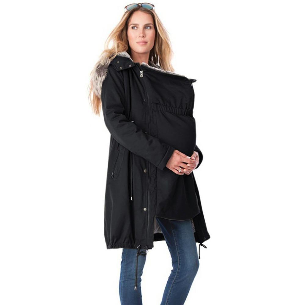 Nuove donne di modo di cucitura con cappuccio Fur Collar lunghe maternità cappotto cappotto con cappuccio Outwear Lady capelli collare canguro