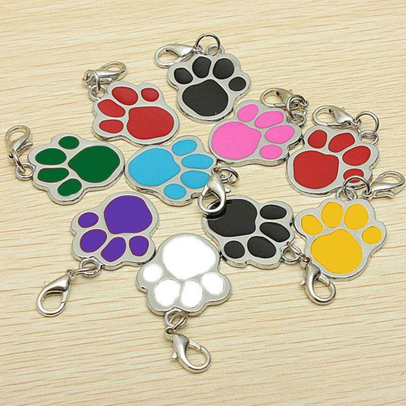 Fascini del catenaccio Ciondolo portachiavi di Keychain della catena chiave della zampa del cane fai da te Collari Pet ID Tag Accessori per Dog Lovers