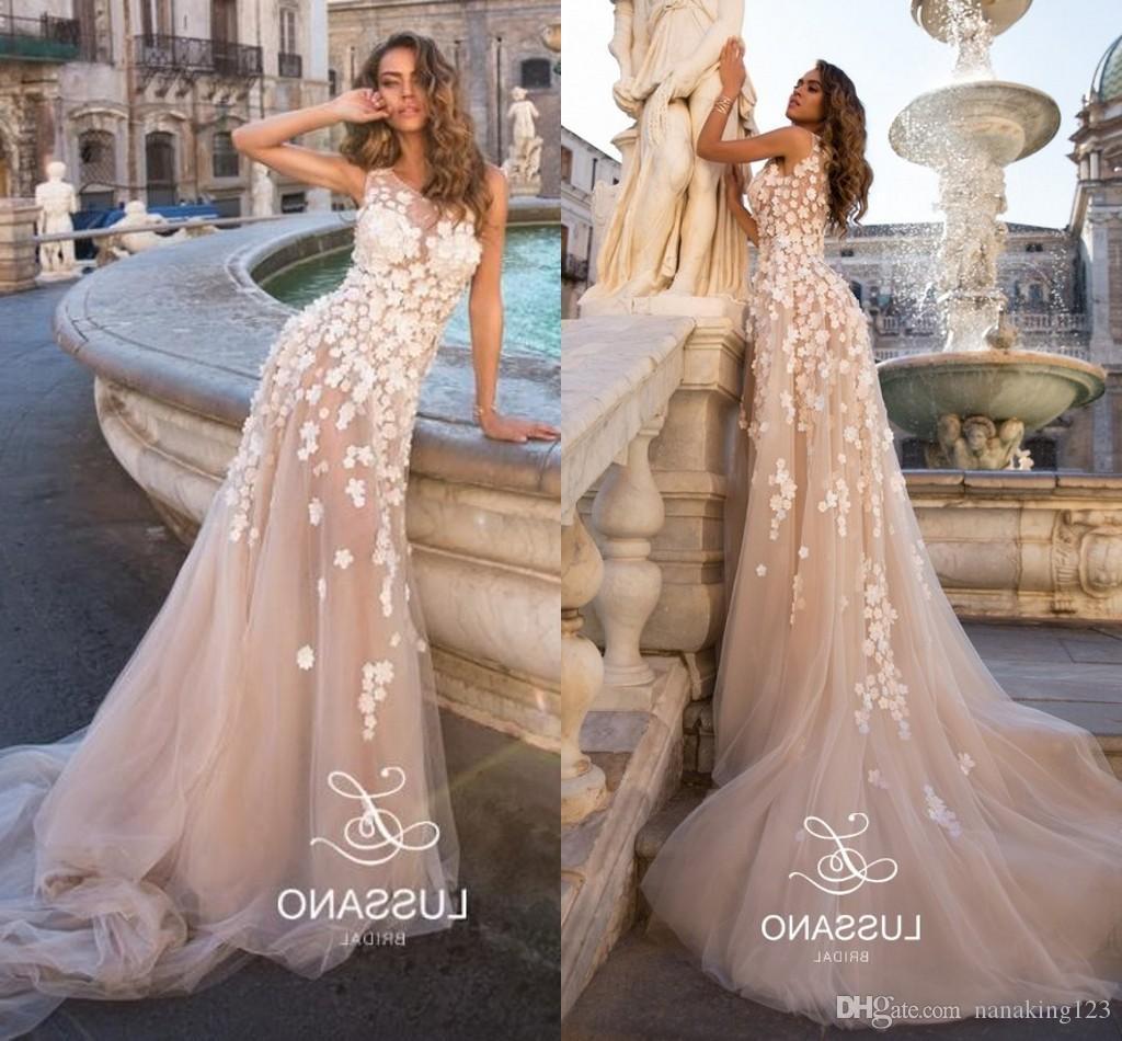 Elegantes vestidos de novia de una línea de ilusión Blush con apliques de joya blanca sin mangas Boho vestidos de novia vestidos de novia por encargo
