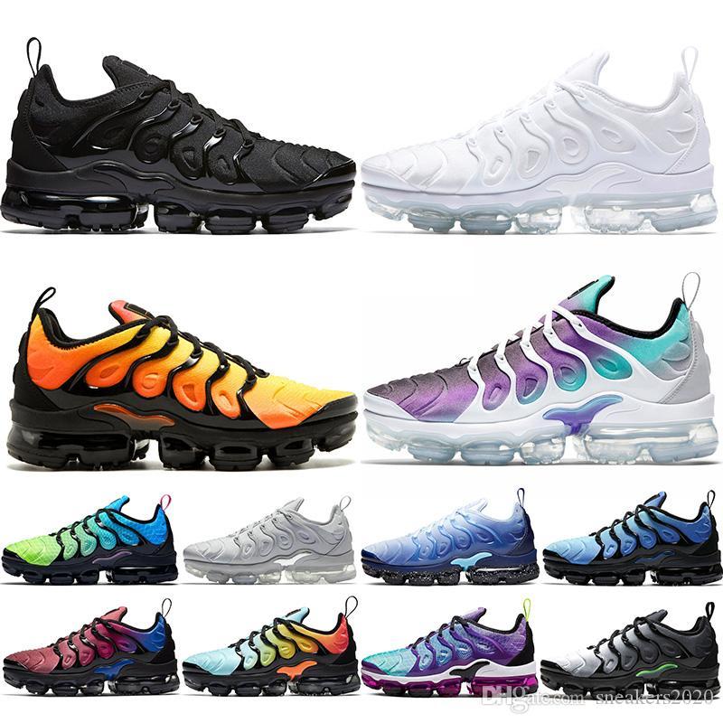 Nike Air Max Vapormax Plus TN de los zapatos corrientes Plus Hombres Mujeres Hombres Negro Blanco Juego Real de trabajo azul Entrenadores Sport zapatillas de deporte del envío