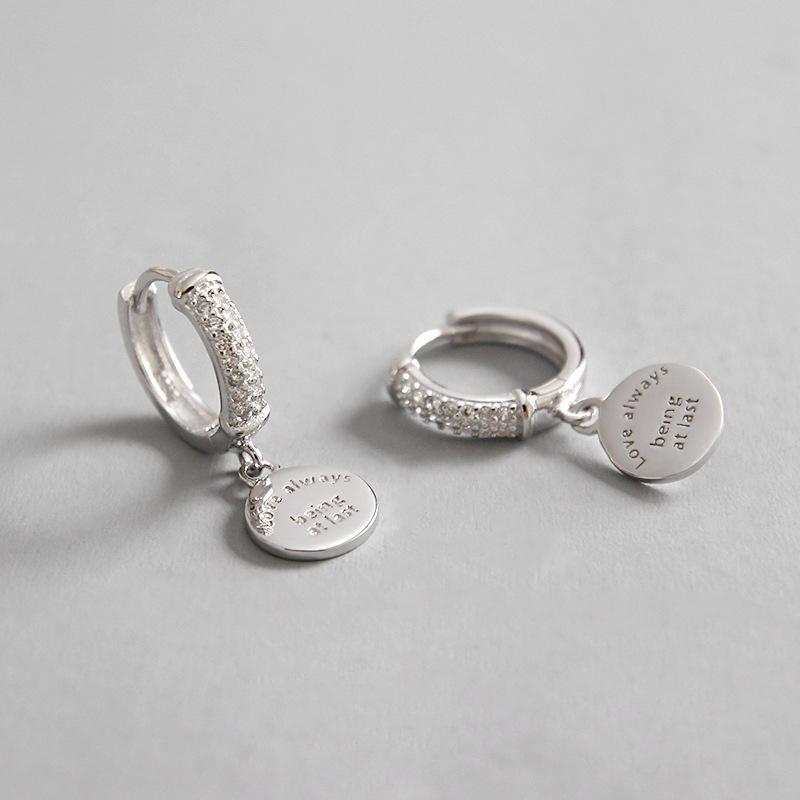 925 brincos de prata jóias com zircão wafer insere Círculo Hoop Brincos cor de ouro branco