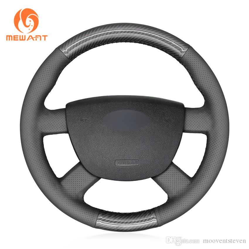 1 DIY MEWANT Black PU Carbon Fiber with Artificial Leather Steering Wheel Cover Wrap for Ford Focus 2 2005-2011