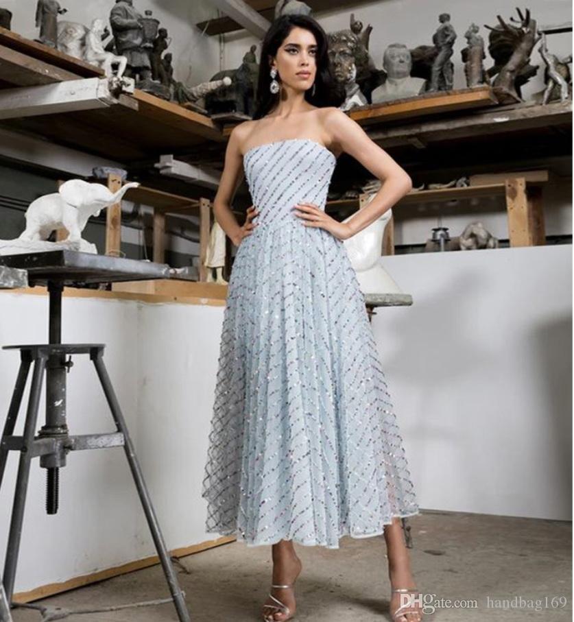 Pailletten Cocktailkleider trägerloses Miniabendkleid Backless Partei-Kleid-Abendkleider 2020