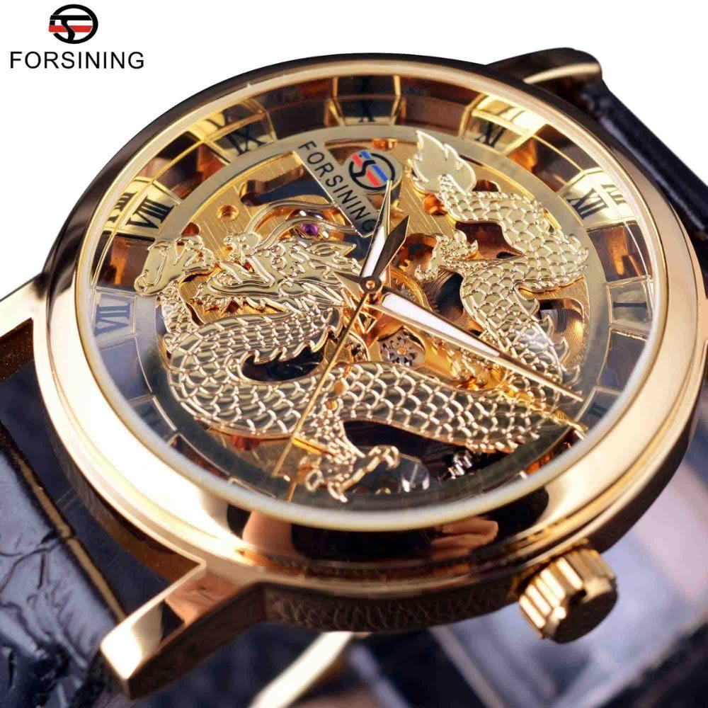 Forsining Китайский дракон Скелет дизайн прозрачный корпус Механический Мужские наручные часы Золотые часы Мужские часы Top Brand Luxury