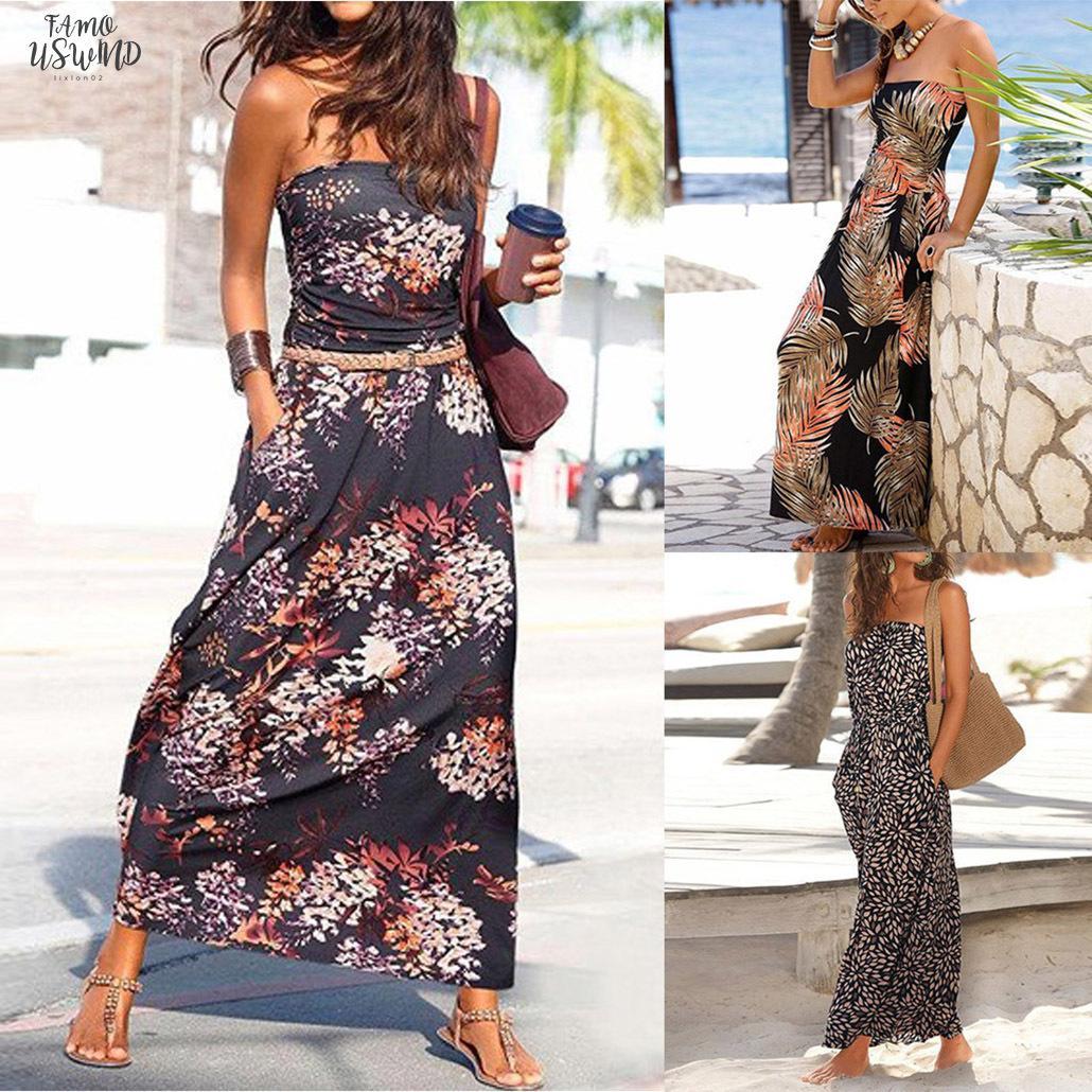 Frauen-Kleider Sexy Bandeau Elegante Feiertags weg von der Schulter Sleeveless Strand-Druck-Sommer-Maxi Kleid der Frauen Dropshipping 30