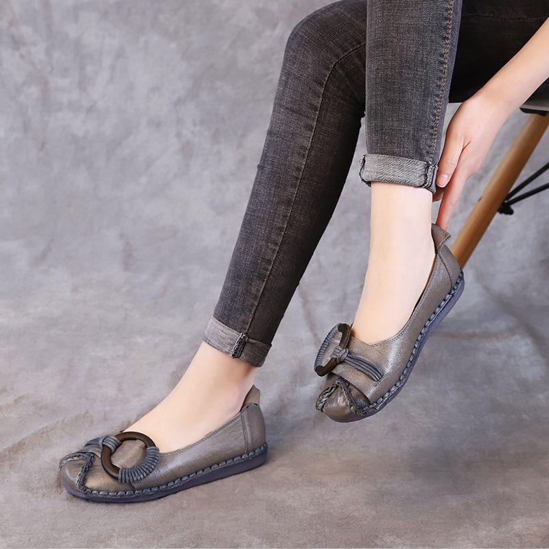 2019 neue Weinlese-Damen Loafers Flache Schuhe für Frauen Soft-Patent-echtes Leder-Schuhe Weiblich Non Slip Arbeitsschuhe Braun Schwarz