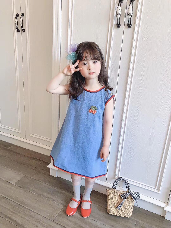 New verão babys Meninas Princess Dress moda bonito crianças azul sem mangas Vestidos frete grátis