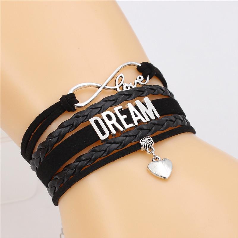 Traum Brief Unendlichkeit Armband Liebe Charm Mehrschichtige Armband Handgefertigte Lederarmbänder Punkschmucksachen für MenWomen