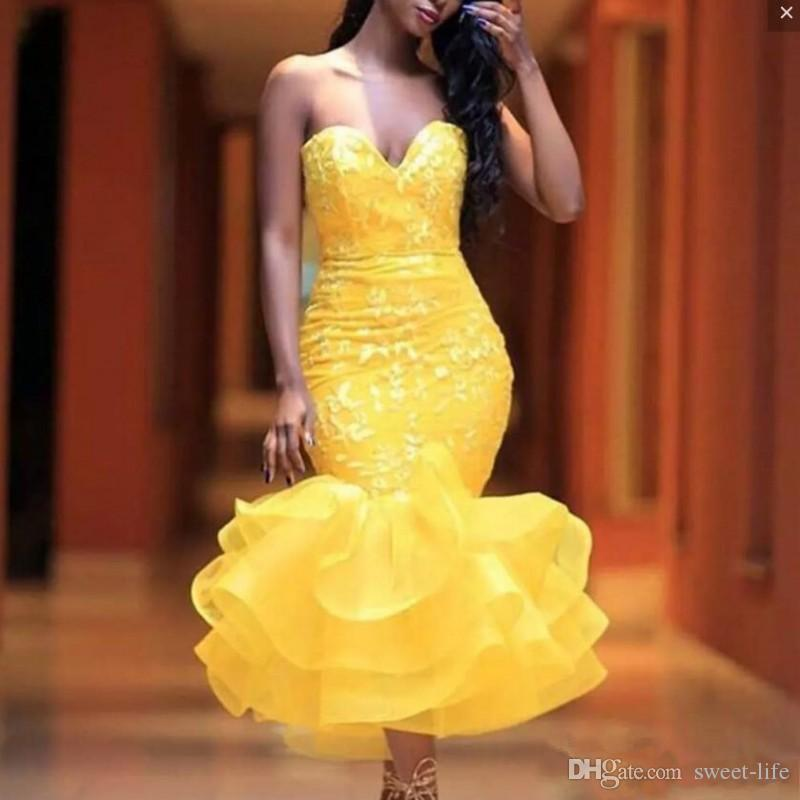 Yellow Mermaid Prom Dresses Sweetheart Appliques Lace Organza African Party Wear Backless Tea Length Cocktail Dress