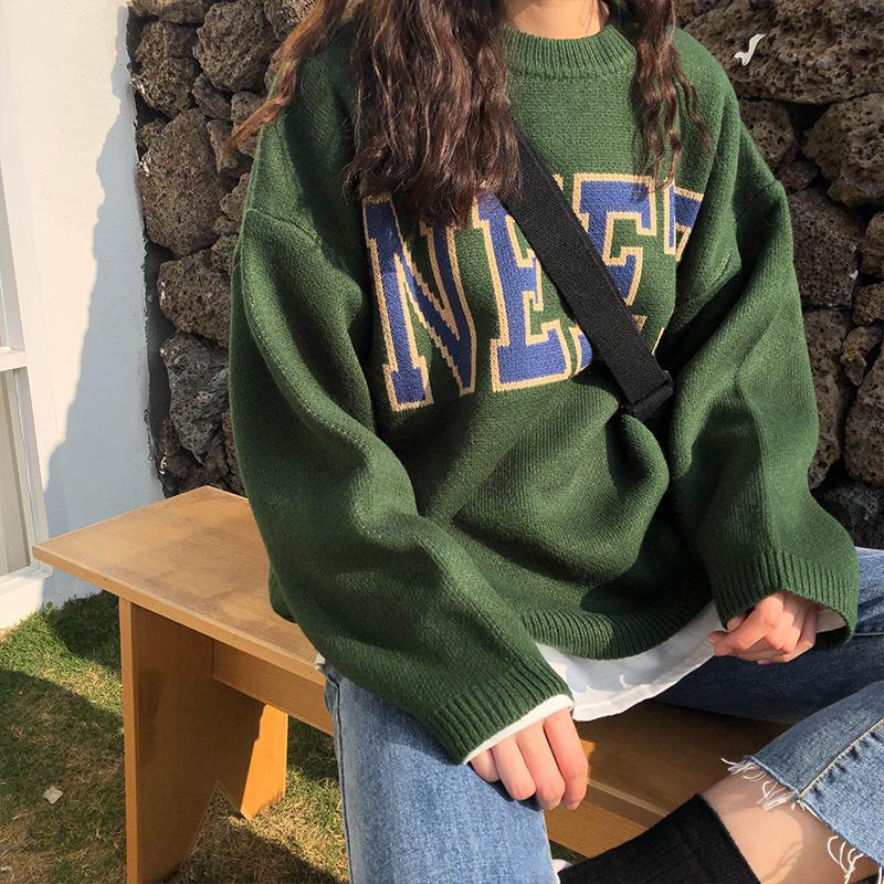 3 colores 2019 otoño y la letra del estilo coreano de época de invierno jersey de manga larga gruesa de punto suéteres para mujer (X200) LY191213