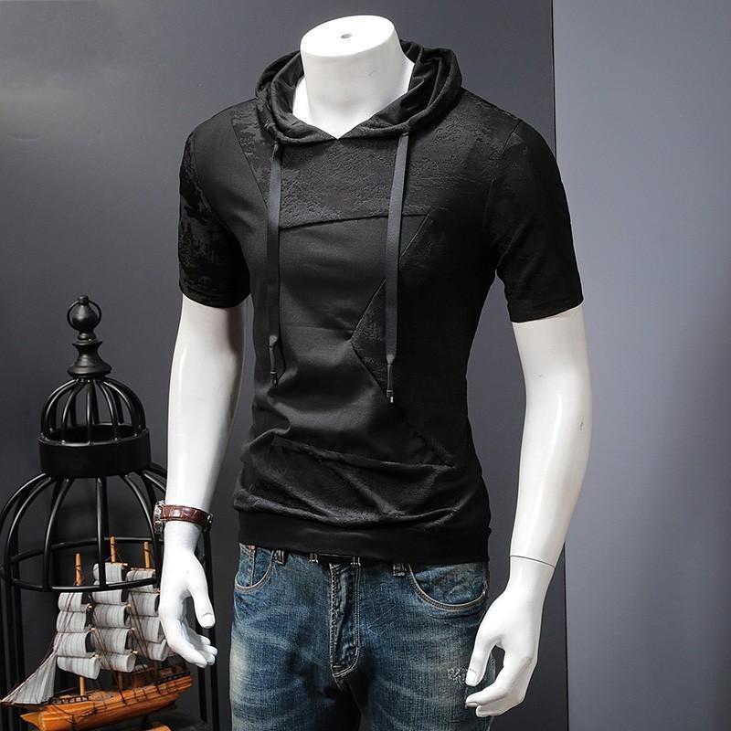 Para hombre verano coreano de manga corta con capucha de seda del hielo camiseta Slim Fit Tees tapas ocasionales Capsula de Streetwear Camisetas tamaño 4XL Top