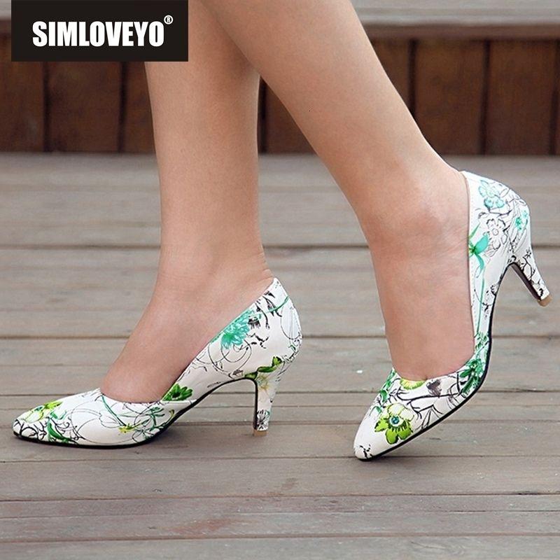 SIMLOVEYO Women pumps High heel printing flower Pointed toe Slip on Spike heel Blue Green party wedding office Big size 44MX190917