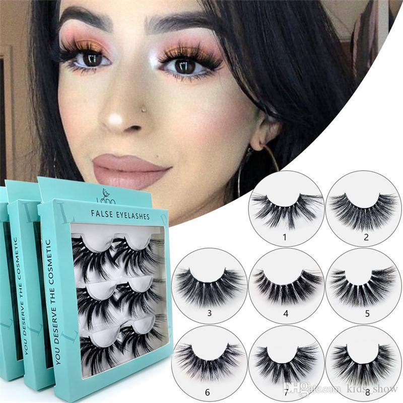 25 MM Big Mink ciglia 3d Natural Long Thick Handmade Lashes Hair Extension 3 Pairs / Set 8 Stili