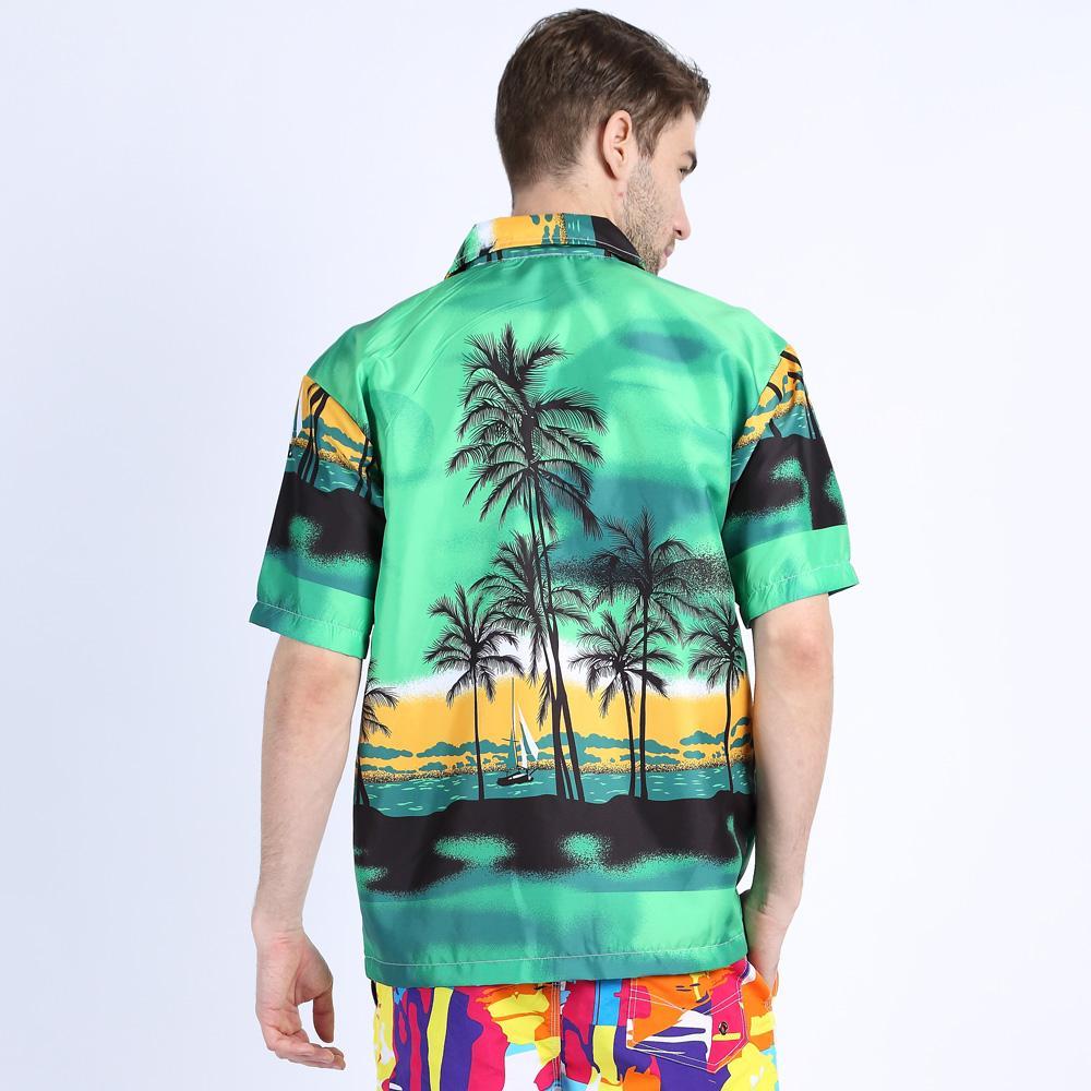Erkek Hawaii Stil Gömlek Kısa Kollu Tropikal Baskı Spor Gömlek Slim Fit Çiçek Bluz Erkek / Bayan Çift Marka Plaj Giysileri