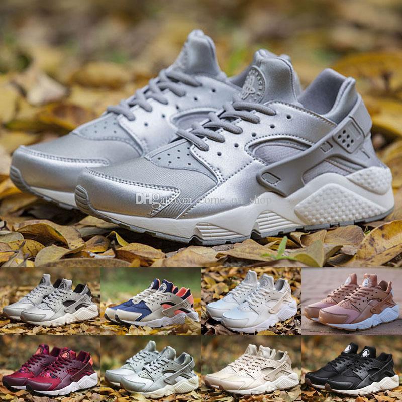 Mais recente Running Shoes Huarache I para Homens Mulheres, Verde Branco Preto Rosa de Ouro Sapatilhas Triplo huaraches 1 Trainers huraches Sports Shoes