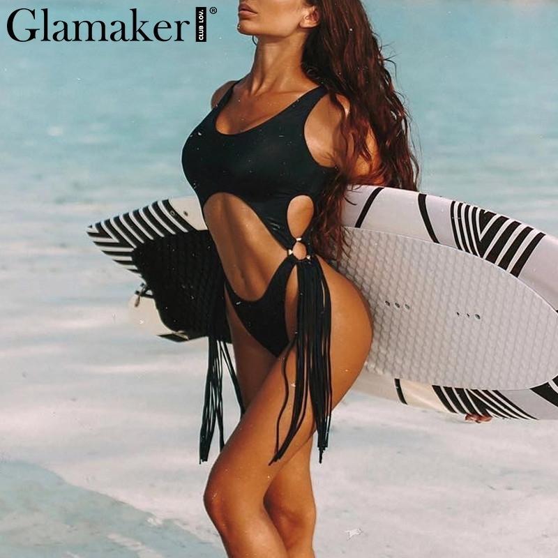 Glamaker leopardo de la borla de las mujeres del mono del hueco hacia fuera atractivo corte alto negro del bodycon del verano traje de baño de una sola pieza de la playa del traje de baño