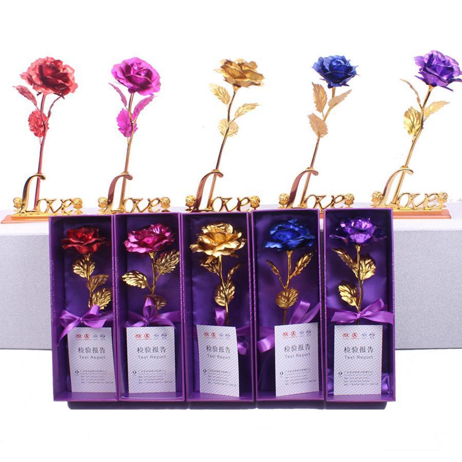 Aşık Düğün Noel Sevgililer Anneler Günü Hediyeleri RRA2623 için 24k altın Folyo Kaplama Gül Yapay Uzun Kök Çiçek Yaratıcı Hediyeler