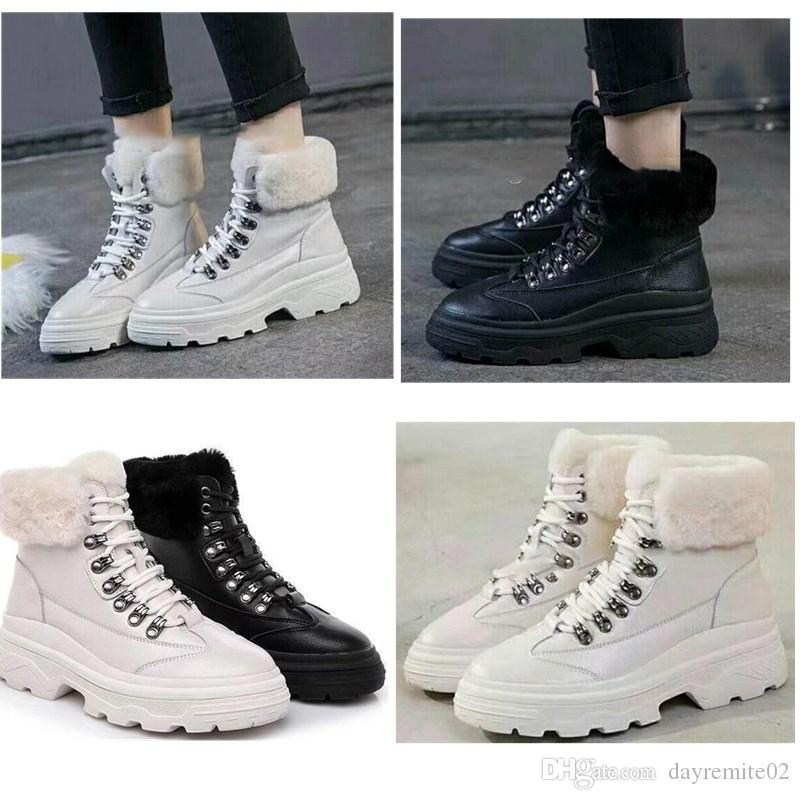 2019 New Hot Arrival Winter Rabbit Hair Leather Fashion Women Ankle casual Boots All Black White Bottes For Snow Bottes High Quality