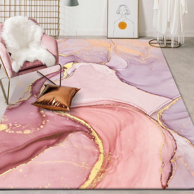 Aquarelle abstraite rose Grand Tapis pour Salon Chambre Qualité nordique moderne douce Zone de chevet Tapis Kid Tapis de jeu Violet