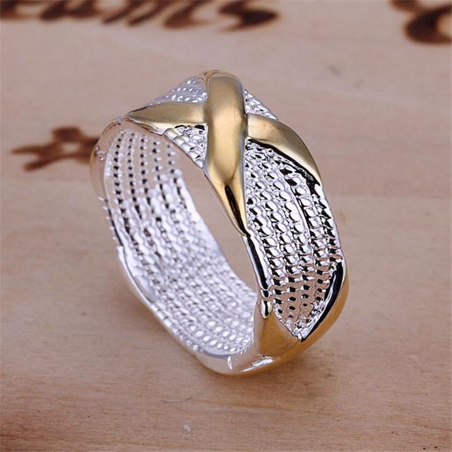 حار بيع 10٪ من 925 الفضة مطلي مزدوج اللون X الدائري، وصول منتج جديد، الموضة جدا والشعبية 925 الفضة RING، DSSR-013
