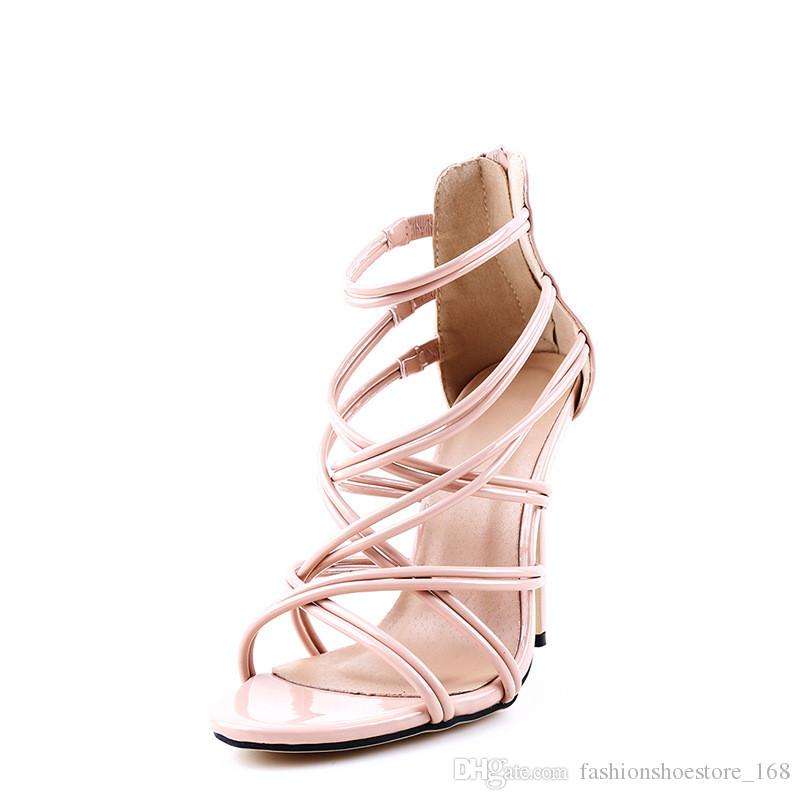 Sexy Fashion Gladiator Woman Sandals Summer Striped Peep Toe Stiletto High Heels Shoes Sandals Black Gold Nude Large US10.5