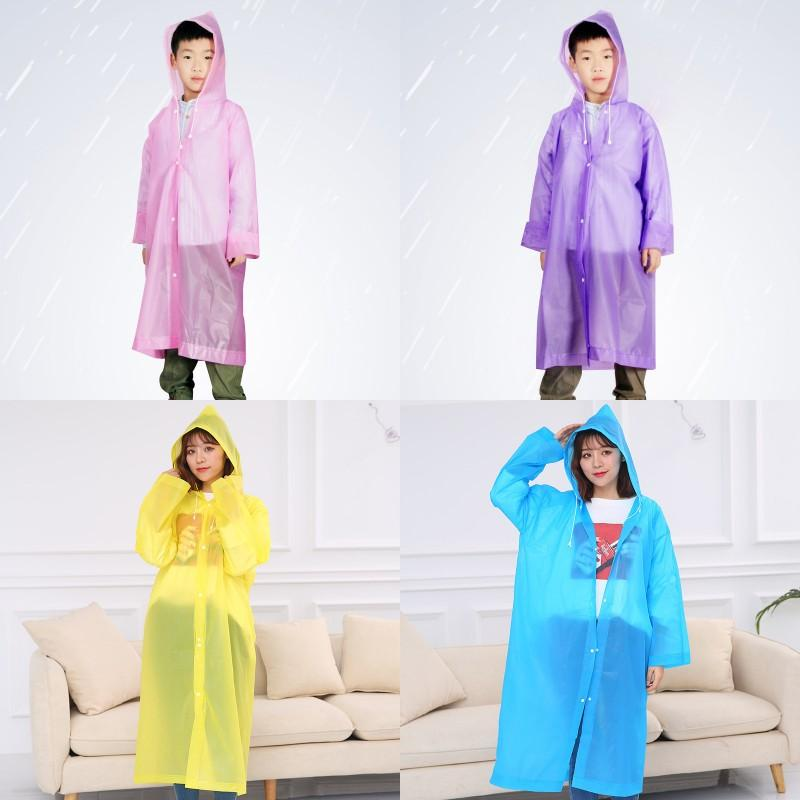 Desechable Mate PEVA impermeable para no Rainwear Adultos Niños Hogar impermeable del impermeable recorrido que acampa portable con capucha ropa impermeable