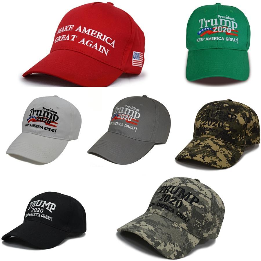 Hot Sale tornar a América Great Again Caps Donald Trump 2020 Com Tampão da bandeira dos EUA ajustável chapéu de basebol 10 1Pcs gratuito Navio # 697
