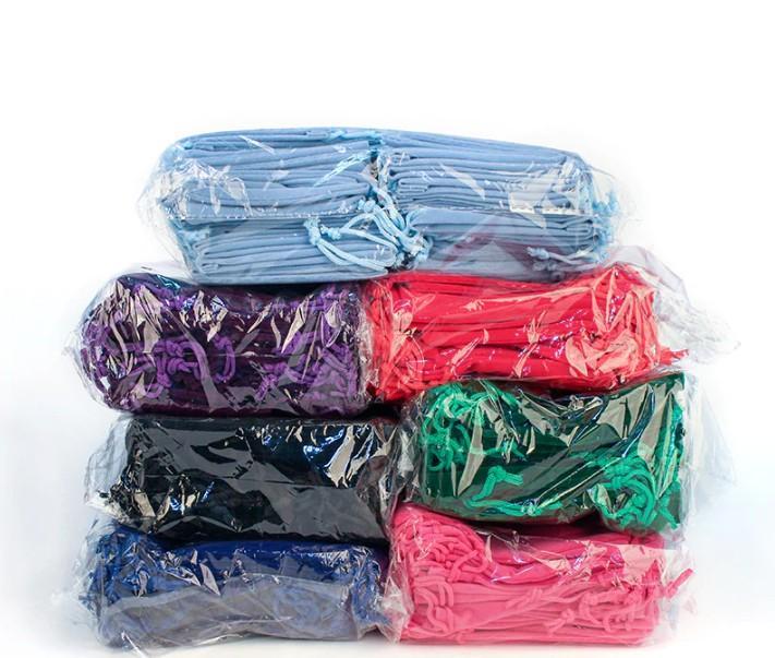 Bolsas de terciopelo Embalaje de joyería Fiesta de boda Regalos rosados Bolsas de cordón 10x12cm (3.5 x 4.75 pulgadas)