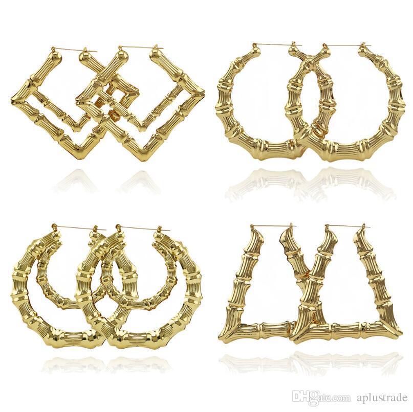 2019 2020 joyería de moda Múltiples Formas étnico grande chapado en oro de la vendimia pendientes del aro de bambú para la Mujer 9 modos de libre elección