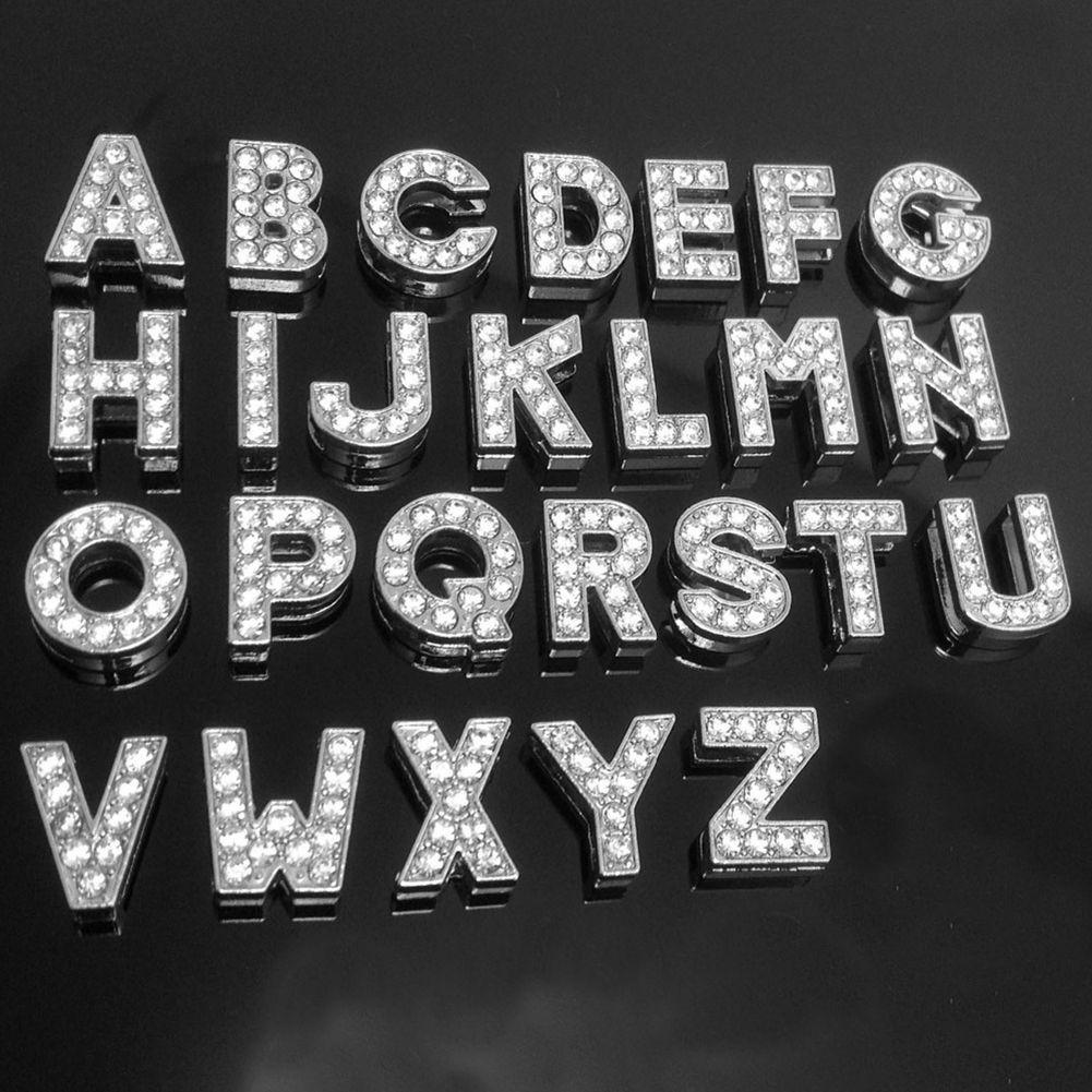 A-Z Rhinestone lleno de diapositivas Letters colgantes A-Z completa Rhinestones de Bling de diapositivas Carta de ajuste para el bricolaje 10mm de cuero pulsera pulsera de 260pcs mixtos