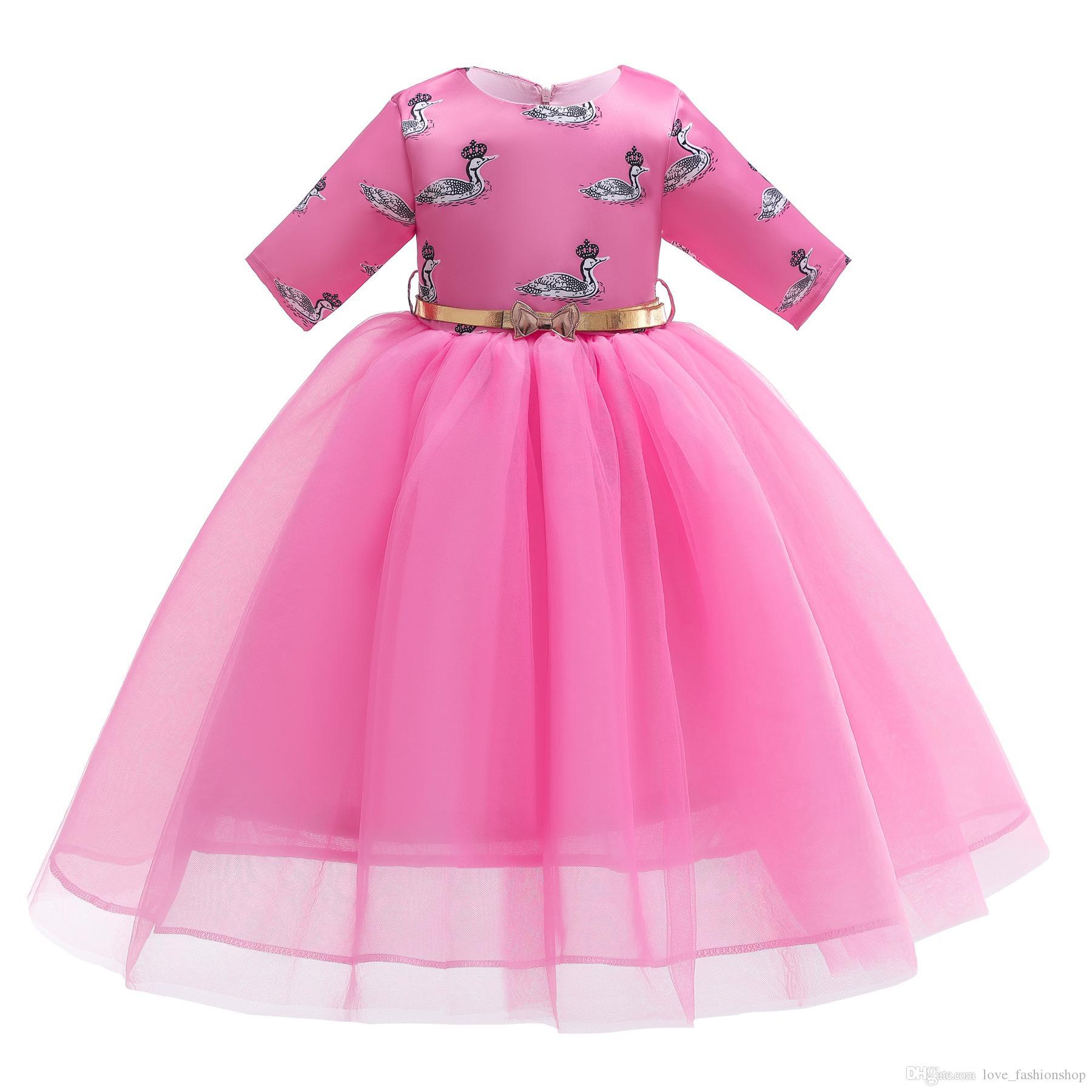 Venta al por menor de los niños vestido de diseñador niñas cisne musulmán impreso malla princesa vestido de fiesta de los niños de la boda formal vestidos de baile boutique de ropa