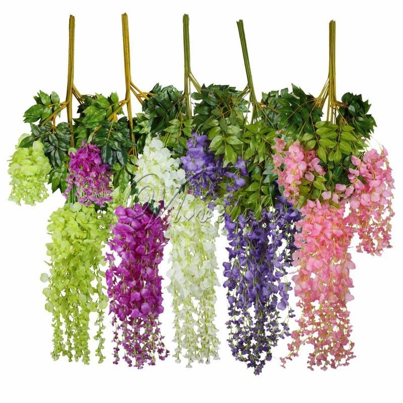 12pcs 105cm Artificial Silk Wisteria Hanging Plants for Wedding Party Home Garden Decor Decorative Hanging Flowers Wholesales C18112601