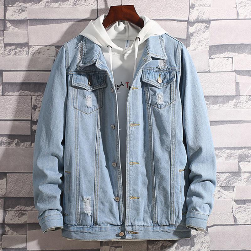 Spring Denim Jacket Men Hip Hop Retro Denim Jacket Street Casual Jean Clothing Fashion Hole Slim Buttoned Sky Blue Men's