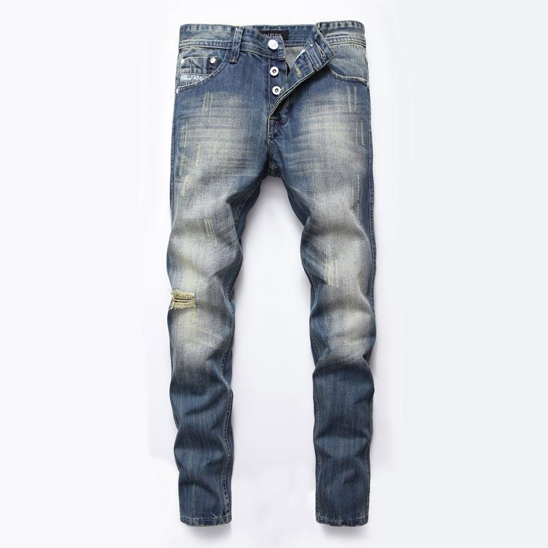 2021 Fashion Italian Style Fashion Mens Jeans Buttons Pants Brand Slim Fit Hole Ripped Jeans For Men Blue Color Denim Biker Homme From Wonyo168 30 48 Dhgate Com