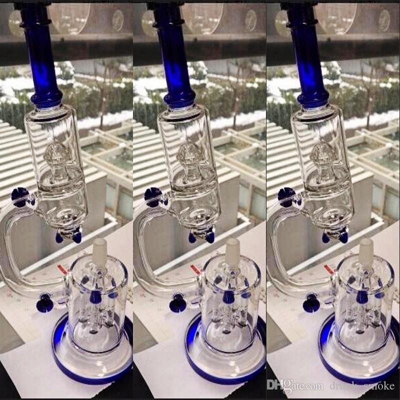 푸른 유리 봉 물 파이프 로켓 모양 여과기 담배 파이프 Dab 오일 리가 무료 배송 Hookahs IN STOCK