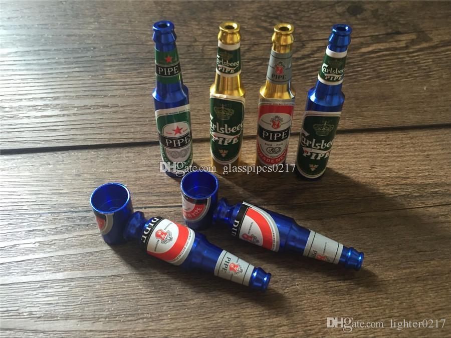 aluminio al por mayor Pipas portátiles tuberías de mano desmontable mano del tabaco del metal botella de cerveza creativa botella de vino del envío de la forma libre