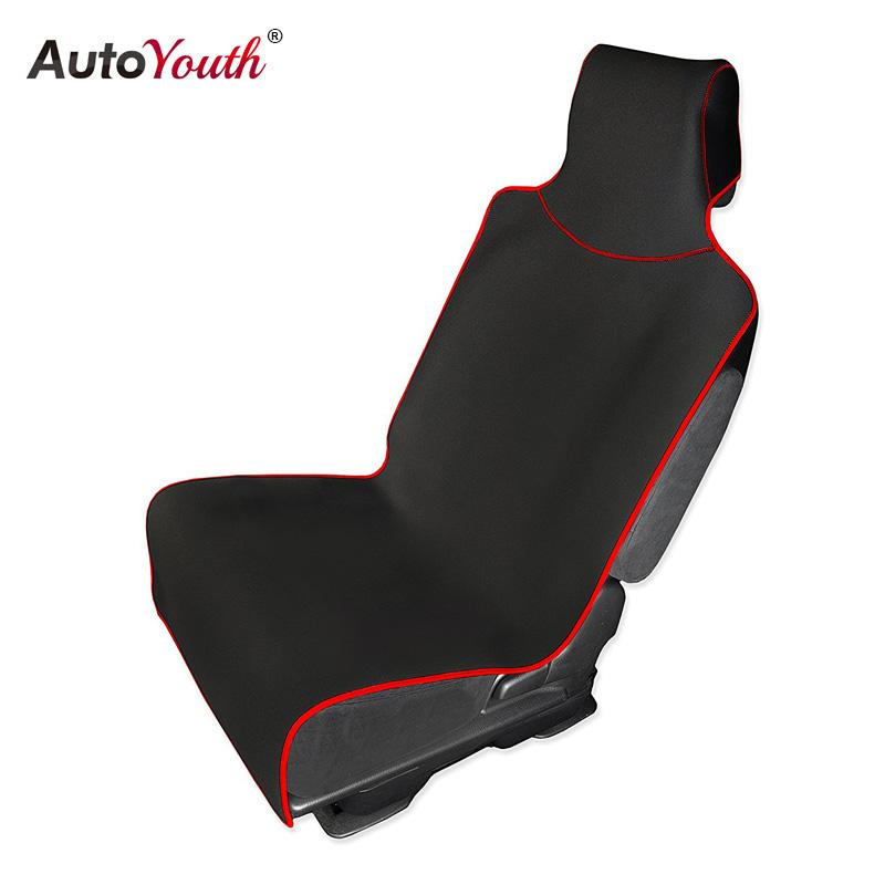 AUTOYOUTH Car Seat Cover and Protector with Universal Fit for Cars Trucks and SUVs Waterproof Protection Black with Red Trim 1PC